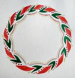 Watercolor illustration with christmas wreath royalty free stock photo