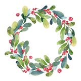 Watercolor Christmas wreath of green branch, leaves and berry. Watercolor illustration. Christmas wreath of green buxus branch, leaves and red berry Stock Image