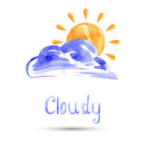 Watercolor illustration of cloud and sun. Vector Stock Images