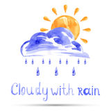 Watercolor illustration cloudy with rain. Vector Stock Images