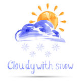 Watercolor illustration cloudy with snow. Vector Vector Illustration