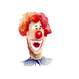 Watercolor illustration with clown. Original watercolor illustration with clown Stock Images