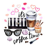 Watercolor illustration coffee cup, cupcake, female accessories Royalty Free Stock Photos