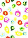 Watercolor illustration of colorful circles white background Royalty Free Stock Photo