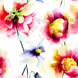 Watercolor illustration of colorful flowers Stock Images