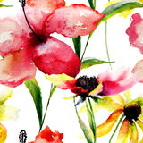 Watercolor illustration of colorful flowers Stock Image