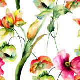 Watercolor illustration of colorful flowers Royalty Free Stock Photography