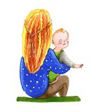 Watercolor illustration for coloring book. Mother with long hair vector illustration