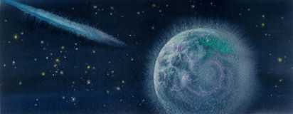 Watercolor illustration Comet and Earth Royalty Free Stock Photos