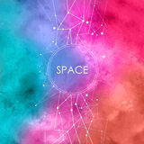 Watercolor Illustration with connecting dots,space background with constellation stock illustration