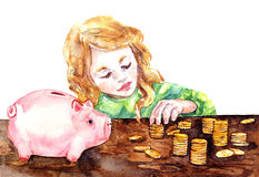 Watercolor Illustration Counting Money Royalty Free Stock Images