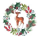 Watercolor illustration of Cristmas wreath with holly and deer. royalty free illustration