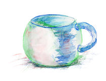 Watercolor illustration of cup Stock Image
