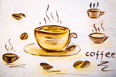 Watercolor illustration of a cup of hot coffee and coffee beans Royalty Free Stock Image