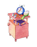 Watercolor illustration. Cupboard with alarm, clock, glasses and Stock Image