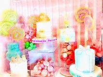 Watercolor illustration of Cupcake store display Royalty Free Stock Image