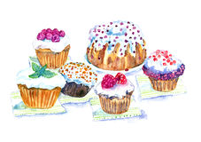 Watercolor Illustration Cupcakes. Hand painted watercolor illustration of food Royalty Free Stock Images