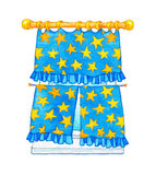 Watercolor illustration. Curtain with yellow stars on the window Stock Photo