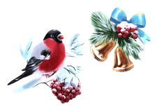 Watercolor illustration bells and Rowan Bullfinch colorful isolated object on white background for advertisement vector illustration