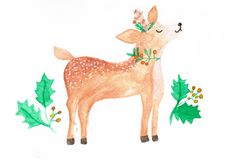 Watercolor illustration of cute deer, christmas themed royalty free illustration