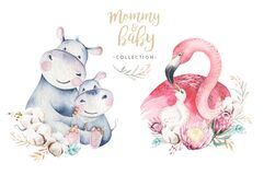 Watercolor cute cartoon illustration with cute mommy flamingo and baby, flower leaves. Mother hippo and baby