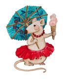 Watercolor Illustration - Cute Mouse Stock Image