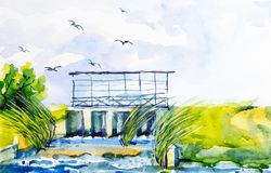 Watercolor illustration of a dam with a bridge. Over the bridge flying birds gulls.  royalty free stock photo
