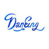 Watercolor illustration dance lettering theme. Isolated. Stock Image