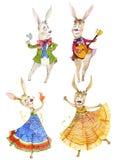 Watercolor illustration, Dancing and singing rabbits. Rabbits are dancing and singing, cute children`s watercolor illustration Royalty Free Stock Photo