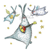Watercolor illustration, Dancing and singing rabbits. Rabbits are dancing and singing, drawing illustration Stock Photography