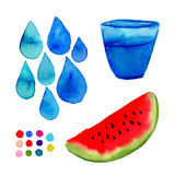 Watercolor illustration for decorations. Hand paint art with watermelon, glass and drops Stock Photography