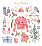 Watercolor illustration. Decorative christmas card with floral e. Lements, poinsettia, gifts, bells etc. Perfect for invitations, greeting cards, prints and more Stock Photography