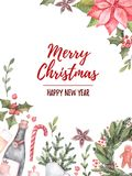 Watercolor illustration. Decorative christmas card with floral e. Lements, christmas toys, champagne. Perfect for invitations, greeting cards, prints. Merry Stock Photo
