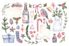 Watercolor illustration. Decorative christmas elements with floral elements, christmas decorations, bells, champagne, labels etc. royalty free illustration