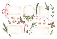 Watercolor illustration. Decorative christmas labels with floral. Elements, christmas decorations, bells etc. Perfect for invitations, greeting cards, prints Royalty Free Stock Images
