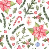 Watercolor illustration. Decorative christmas seamless pattern w. Ith floral elements, christmas decorations, poinsettia etc. Perfect for invitations, greeting Royalty Free Stock Images
