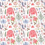 Watercolor illustration. Decorative christmas seamless pattern w. Ith floral elements, christmas decorations, fir tree, knitting sweater etc. Perfect for Royalty Free Stock Photos