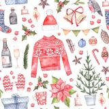 Watercolor illustration. Decorative christmas seamless pattern w. Ith floral elements, christmas decorations, fir tree, knitting sweater etc. Perfect for Stock Photography