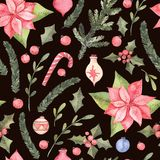 Watercolor illustration. Decorative christmas seamless pattern w. Ith floral elements, christmas decorations, poinsettia etc. Perfect for invitations, greeting Stock Images
