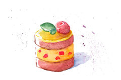 Watercolor illustration of a delicious cake Stock Images