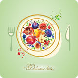 Watercolor illustration. Delicious diet. Fruit nutrition. Stock Photo