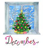 December month. Christmas tree and winter window with snow. Watercolor illustration with  design elements. Calendar page concept with twelve months symbols and Stock Photos