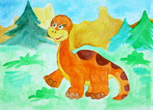 Watercolor illustration with the dinosaur. Royalty Free Stock Photography