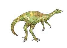 Watercolor illustration of dinosaur. Green allosaurus Stock Photography