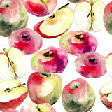 Watercolor illustration of Donut peaches and apples Stock Photo