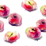 Watercolor illustration of Donut peaches Stock Images