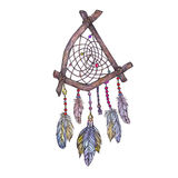 Watercolor  illustration of dreamcatcher from branches of tree, Stock Photos