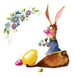 Watercolor illustration, Easter bunny. Easter bunny with flowers and eggs, watercolor illustration, drawing easter illustration Stock Photo