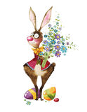 Watercolor illustration, Easter bunny. Easter bunny with flowers and eggs, watercolor, drawing easter illustration Stock Images
