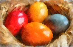 Watercolor illustration, easter eggs Stock Photo